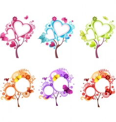 heart tree set vector image