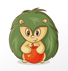 Hedgehog with apple vector image