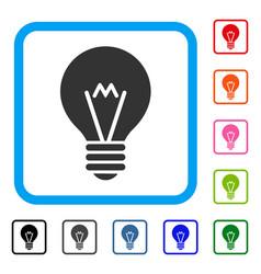 Hint bulb framed icon vector