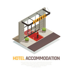 Hotel accommodation isometric composition vector