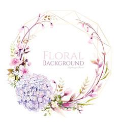 Hydrangea flower with cherry blossom wreath vector