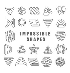 Impossible shapes set impossible line art vector