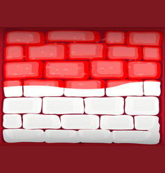 indonesia flag painted on brickwall vector image