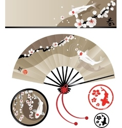 Japanese fan set vector image