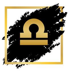 Libra sign golden icon at vector