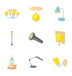 Light icons set cartoon style vector