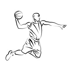 Line sketch basketball player vector