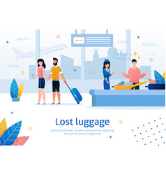 Lost or damaged luggage in airport banner vector