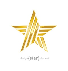 luxury Gold star design element on white vector image