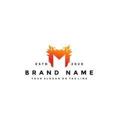 M letter logo fire design vector