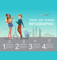 man and girl planning at airport for traveling vector image