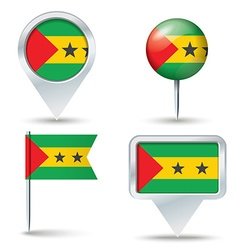 Map pins with flag of Sao Tome and Principe vector image