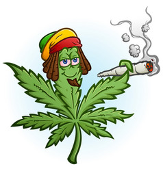 marijuana rasta cartoon character smoking a joint vector image