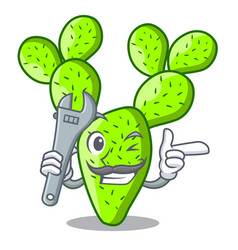 Mechanic cartoon the prickly pear opuntia cactus vector