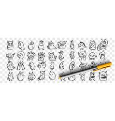 monsters doodle set vector image