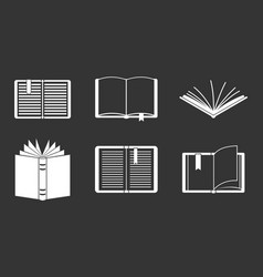 open book icon set grey vector image