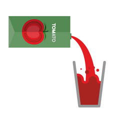 Packaging and glass of tomato juice pour tomato vector