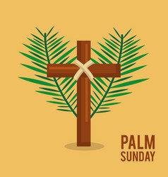 palm sunday branches text with cross easter vector image