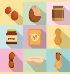 peanut nuts butter jar icons set flat style vector image