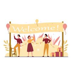People under welcome banner vector