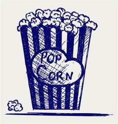 Popcorn exploding inside the packaging vector