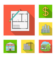 realtor agency flat icons in set collection for vector image