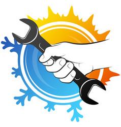 Repair and service air conditioner symbol vector