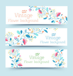 retro flower banners concept vector image