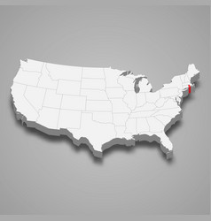 rhode island state location within united states vector image