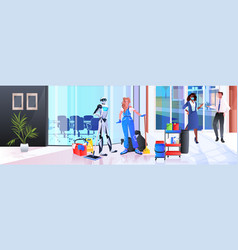 robotic janitor with woman cleaner robot vs human vector image