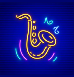 saxophone neon musical vector image