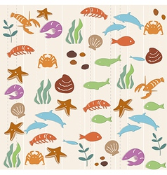 Seamless ocean life pattern vector image
