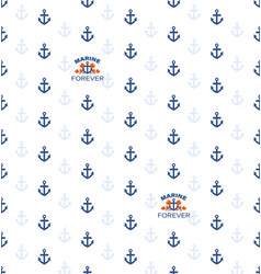 Seamless pattern with anchors and sea emblem vector