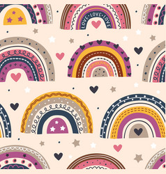 seamless pattern with beautiful rainbows on beige vector image