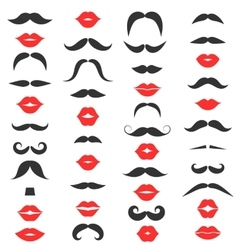 set mustache and women s red lips vector image