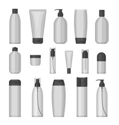 Set of cosmetic bottles flat design vector
