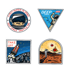 Set of space logo human mission to mars vector