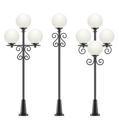 Set of street lamps with oval heads vector