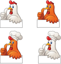set roosters cartoon giving thumb up vector image