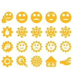 Settings and Smile Gears Icons vector image