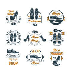 Shoe shop vintage logo design set premium vector