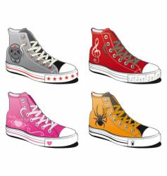 Shoes with various symbol vector