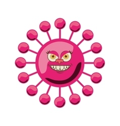 Silhouette magenta with bacteria cartoon shape vector