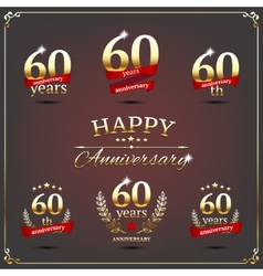 Sixty years anniversary signs collection vector