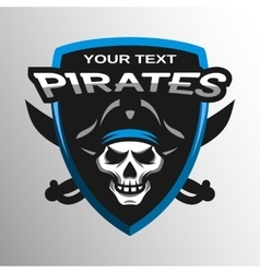 Skull pirates and swords Sport emblem vector