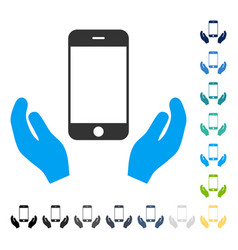 Smartphone care hands icon vector