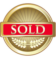 Sold gold icon vector