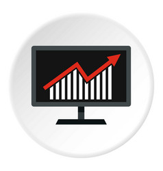 Statistics on monitor icon circle vector