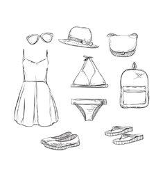 Summer clothes and accessories for beach vector image