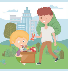 Teen and boy in park with box full toys vector
